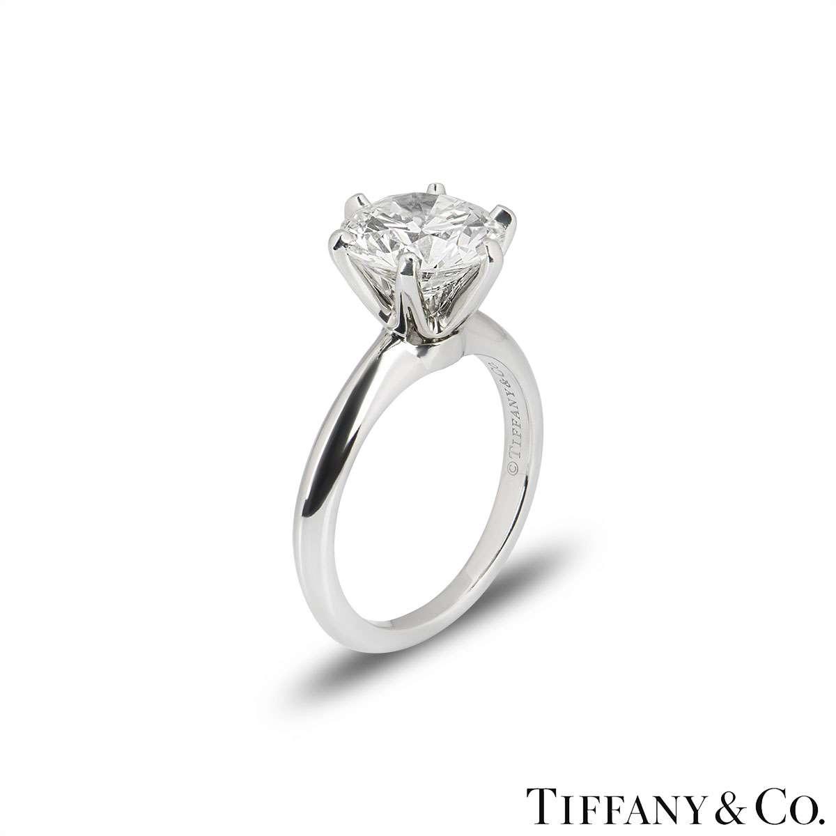 Tiffany & Co. Round Brilliant Cut Diamond Ring 2.80ct I/VVS2